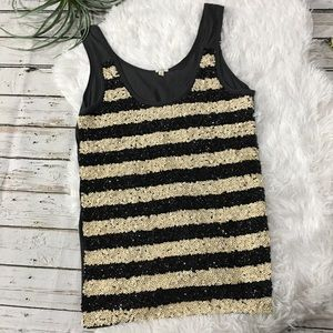 J. Crew striped tank top Sequins size small